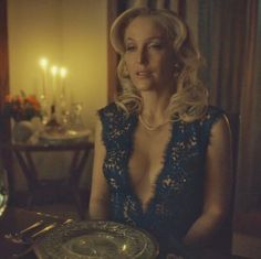 Gillian Anderson elegant cleavage in Hannibal