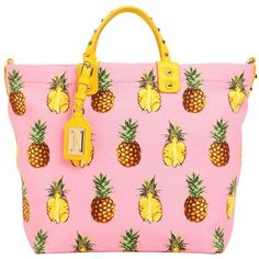 Dolce & Gabbana Women Pineapples Print Cotton Canvas Tote Bag (39,280 MXN) ❤ liked on Polyvore featuring bags, handbags, tote bags, pink purse, tote handbags, studded tote, handbags totes and cotton canvas tote bags