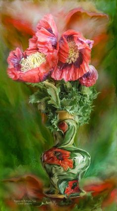 Poppies In Poppy Vase  By Carol Cavalaris 	 Poppies So big and bold What a joy To watch you Unfold  Poppies In Poppy Vase prose by Carol Cavalaris©