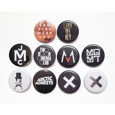 Pinback Buttons Vampire Weekend, Lana Del Rey, John Mayer, Two Door Cinema Club, Maroon 5, MGMT, Mumford Sons, Arctic Monkeys, xx (€3,88) found on Polyvore