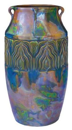 Zsolnay - Vase with a relief around and with handles, Zsolnay, around 1904