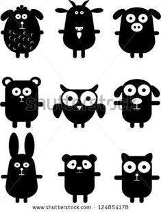 Set of funny black animals - stock vector