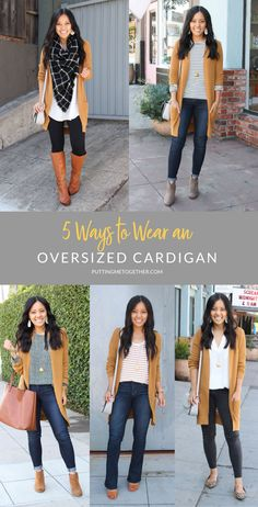 5 Ways to wear an oversized cardigan con botines 5 Ways to Wear an Overszied Cardigan This Fall - Tan Cardigan Casual Work Outfits, Business Casual Outfits, Mode Outfits, Fashion Outfits, Womens Fashion, Outfits With Black Jeans, Black Jeans Outfit Winter, Black Vest, Fashion Trends