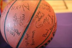 for a basketball themed birthday have all the guests sign a basketball for the birthday boy!