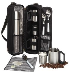 Vienna Coffee Tote for Two - Great Coffee Tote!  Perfect for #footballgames and #tailgaiting!  Includes vacuum flask, insulated mugs, and accessories.  Makes a great gift!
