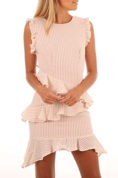 Florida Stripe Ruffle Mini Dress Pink White Stripe