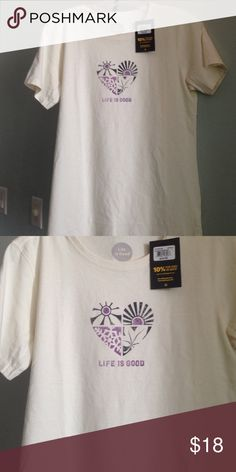 """LIFE IS GOOD TEE Details: Live in luxury with this tee.  Says:  """"Life is Good.""""  Colors are ivory and purple/dark gray. Material: 100% Cotton Size: M Measurements:  26.5"""" from top to bottom of hem front; 18"""" pit to pit Retails:  $24, NWT Life is Good Tops Tees - Short Sleeve"""