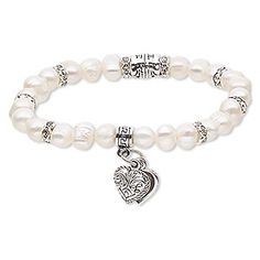 Natural pearl bracelet features a heart charm and is stretchable. Ready-to-wear bracelet makes a charming gift or great for counter sales. Since pearls are a natural material, color and size will vary. Beaded Earrings Patterns, Bracelet Patterns, Bracelet Designs, Pandora Bracelets, Jewelry Bracelets, Bridal Jewelry, Beaded Jewelry, Bracelet Making, Jewelry Making