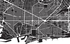 Barcelona black white city plan - street texture