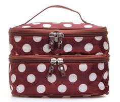 Travel Dot Zip Womens Toiletry Bag Cosmetic Makeup Wash Organizer Case Handheld Made of high quality material, and with durable handle. Spacious Cosmetic Bag with fashionable dot pattern. Unique double layer design, ensure a much neater organization. With a mirror inside, perfect for applying makeup. Suitable for a professional stylist, or anyone on the go who needs to organize their makeup. Happy Hours - Multifunction Handheld Womens Girls Polka Dots Pattern Big Travel Package includes:1 x…