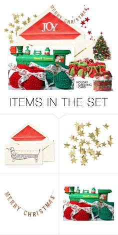 """""""Holiday Joy!"""" by artbymarionette ❤ liked on Polyvore featuring art, holidaygreetingcard and PVStyleInsiders"""