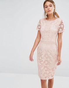 Oasis - Robe fourreau en dentelle motif floral de qualité supérieure