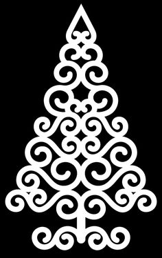 Swirly Christmas Tree by Birdand this website shares her creations like the one above Christmas Art, Christmas Projects, Christmas Tree Stencil, Christmas Design, Diy Natal, Scroll Saw Patterns, Scroll Design, Image 3d, Cricut
