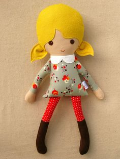 Fabric doll in gray floral dress (For sale on Etsy)