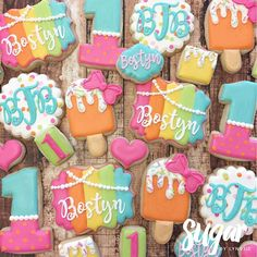 """Popsicles and Pearls"" for Bostyn's 1st birthday! Popsicle cutter is from @thesweetdesignsshoppe! #customcookies #decoratedcookies #dfw #dallas #fortworth"