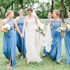 Blue Bridesmaid Dress,Mismatched Bridesmaid Dress,Long Bridesmaid Dress with Slit,plus size bridesmaid dresses - Wishingdress