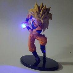 DIY Dragon Ball Z Action Figures Son Goku Led Light 150mm Anime Toys (Size: Blue led light)