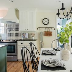 This gorgeous kitchen and dining room from @joannagaines is still one of our all-time favorites! We can't get over that green island and that black and white plaid backsplash! What is your favorite part? Not to mention that gorgeous farmhouse dining space! We're sharing all the details on how to get the look in your own home over on the blog. Link in profile to blog post. You can also shop the look with @liketoknow.it. #fixerupper #fixerupperstyle #kitchenideas #kitchendesign #farmhousestyle…