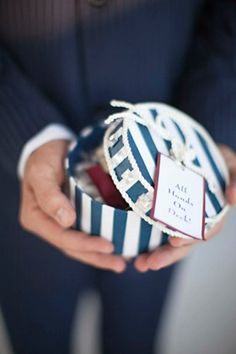 "Striped favor box, ""All Hands on Deck"" #weddingfavor #blueandwhite"