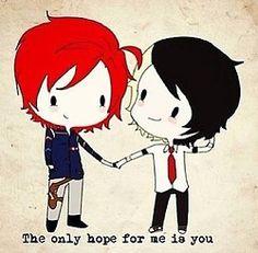 Frerard fan art makes me happy Gerard Way, Gerard And Frank, Emo Bands, Music Bands, My Chemical Romance, Arte Emo, Black Parade, Frank Iero, Band Memes