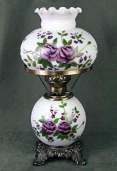 Vintage Student Desk or Table Lamp with Hand Painted Lavender Roses. Vintage Student Desk or Table Lamp with Hand Painted Lavender Roses. Antique Table Lamps, Antique Oil Lamps, Old Lamps, Vintage Lamps, Antique Lanterns, Vintage Hurricane Lamps, Vintage Decor, Vintage Industrial Lighting, Antique Lighting