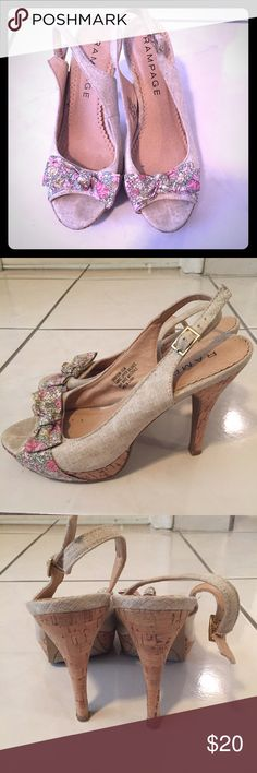 Slingback heels Rampage Grayson heels. Linen sling back style with floral detail and cork platform. Worn a couple times. Rampage Shoes Heels