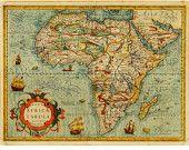 "Antique Africa map - 21"" x 16"""
