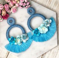 Pastel blue flower tassel hoop statement earrings for spring easter Soutache Earrings, Big Earrings, Unique Earrings, Clay Earrings, Earrings Handmade, Handmade Jewelry, Statement Earrings, Diy Jewelry To Sell, Jewelry For Her