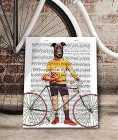 Greyhound Cyclist Art Print tour de france cycling by FabFunky
