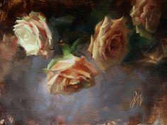 Sadie Valeri, Pink Roses, oil on linen, 9x12 in