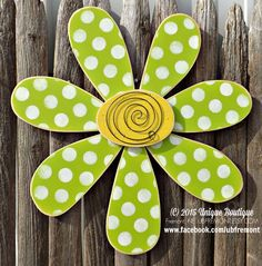 BIG 22 inch wood Daisy FLOWER spring LIME green Polka Dot Door Hanger Decor Hanging Garden art wooden sign