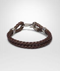 Ebano Intrecciato Oxidized Silver Nappa Bracelet - Men's Bottega Veneta® Bracelet - Shop at the Official Online Store