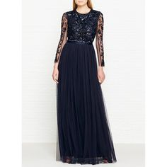 Needle & Thread Embellished Butterfly Backless Gown (£225) ❤ liked on Polyvore featuring dresses, gowns, navy, white maxi skirt, long sheer skirt, long white gown, long navy skirt and white sequin gown