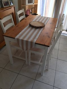IKEA jokkmokk dining table and chairs painted in Annie Sloan Chalk paint