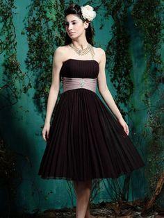 A-line Strapless Ruffles Knee-length Chiffon Bridesmaid Dresses / Cocktail Dresses / Homecoming Dresses