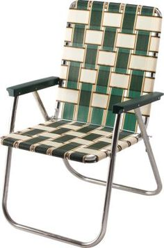 Vintage Aluminum Highback Wide Seat Web Webbed Folding Fold Up Camp Lawn Chair Camps