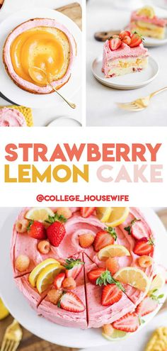 Luscious Strawberry Lemon Cake is made with an easy and moist lemon sponge cake scented with bits of lemon zest and fresh lemon juice. Strawberry Sponge Cake, Lemon Sponge Cake, Strawberry Cake Recipes, Strawberry Buttercream, Lemon Recipes, Lemon Layer Cakes, Layer Cake Recipes, Sponge Cake Recipes, Easy Cake Recipes
