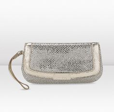 Jimmy Choo   Zeta   Glitter Fabric Wristlet Pouch.This fabulous champagne wristlet pouch comes in glitter fabric and metallic leather and features three internal card slots, tonal satin lining, Jimmy Choo branded hardware and a classic snap closure.  -Snap closure  -Three internal card slots  -Large enough to hold a smart phone and make up compact  L20 x H12 x W1cm