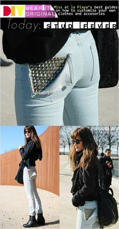 Light blue jeans with frayed, studded pocket worn with black sweater and black boots.. DIY the look yourself: http://mjtrends.com/pins.php?name=pyramid-studs-for-jeans