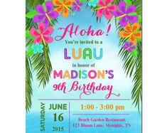 Luau Invitation Printable Or Printed With FREE By ThatPartyChick