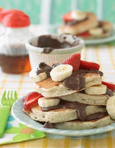Banana + Strawberry + Chocolate Pancakes