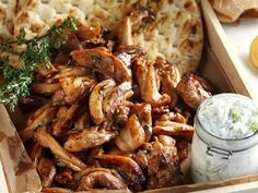 Greek chicken gyro by Greek chef Akis Petretzikis. The traditional Greek chicken gyro recipe with homemade Greek pita bread along with a tasty tzatziki sauce! Chicken Gyro Recipe, Chicken Gyros, Chicken Recipes, Greek Pita Bread, Greek Gyros, Macedonian Food, Healthy Yogurt, Greek Cooking, Kitchens
