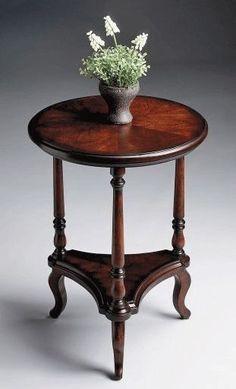 Round Accent / Side Table In Cherry Finish W Triangular Shelf ID 6830