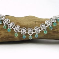 Chain Maille With Beads | Chainmail Necklace with Mint Green Bead Dangles | Handcrafted_Jewelry ...