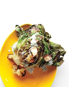 Or Try This: Grilled Butter Lettuce | Martha Stewart Living - Grill butter lettuce over medium heat and cut sides down until charred in a few spots; serve warm with a drizzle of a creamy vinegar dressing.
