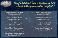 We want to thank all of these couples for choosing to share their special day with us! It was our honor!