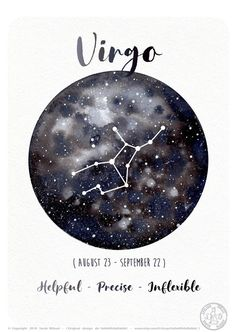 Astrology Card – Zodiac Signs – Pisces, Milky way Watercolor, Sky constellations illustration… - Virgo constellation tattoo Zodiac Signs Pisces, Virgo Sign, Zodiac Sign Tattoos, Virgo Horoscope, March 2 Zodiac Sign, Virgo Astrology, Zodiac Cancer, Watercolor Sky, Watercolor Artwork