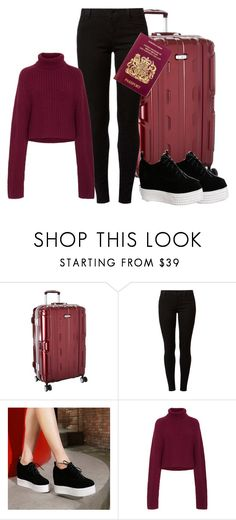 """""""airport fashion"""" by storyofanotherus ❤ liked on Polyvore featuring Samsonite, Dorothy Perkins and Shoes Galore"""