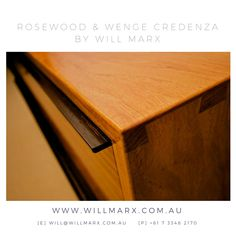 An elegant minimalist credenza handmade from New Guinea Rosewood, Wenge and Lacquer. The gorgeous timber grains unique to rosewood and makes it so highly sought after is the main feature for this cupboard. A beautiful sideboard and exquisite accent piece for the home or business. Worldwide shipping available. Every furniture comes with a 10 year warranty on construction. If you are interested in having a custom made fine furniture by Will Marx, please contact Will on will@willmarx.com.au