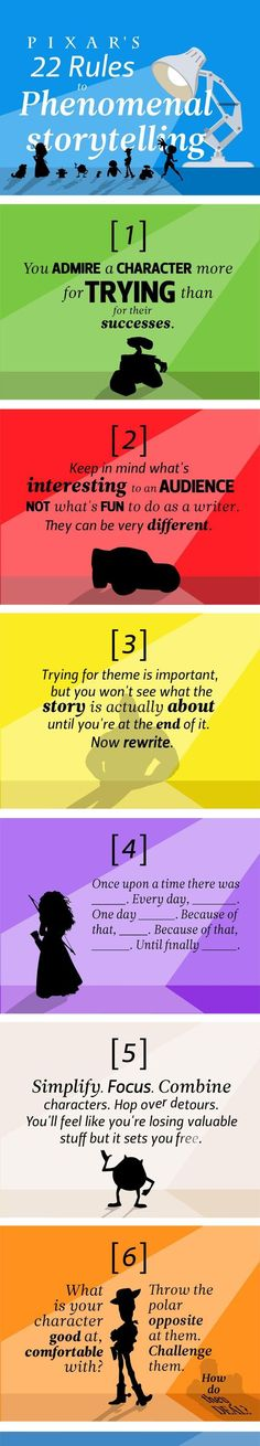 Pixars tips on How To Write A Great Story. I always repin.